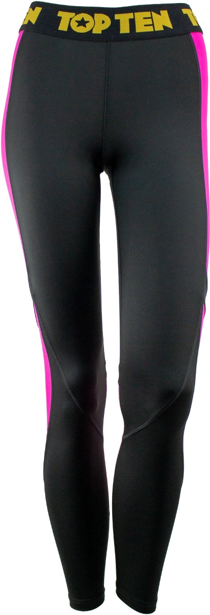 Fitness Leggings Black Pink Front 1