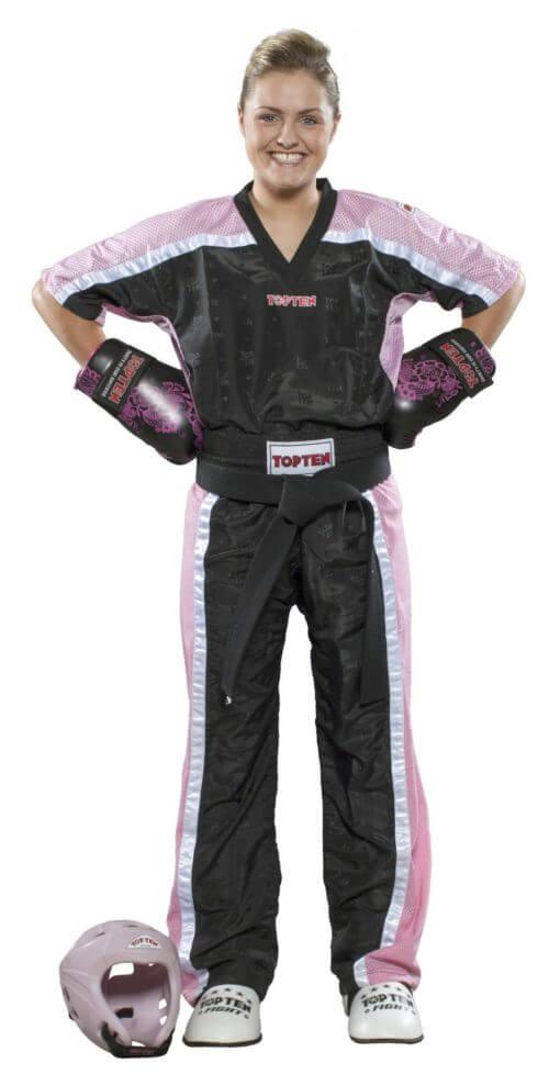 Kickboxhose Mesh Schwarz-Pink komplett