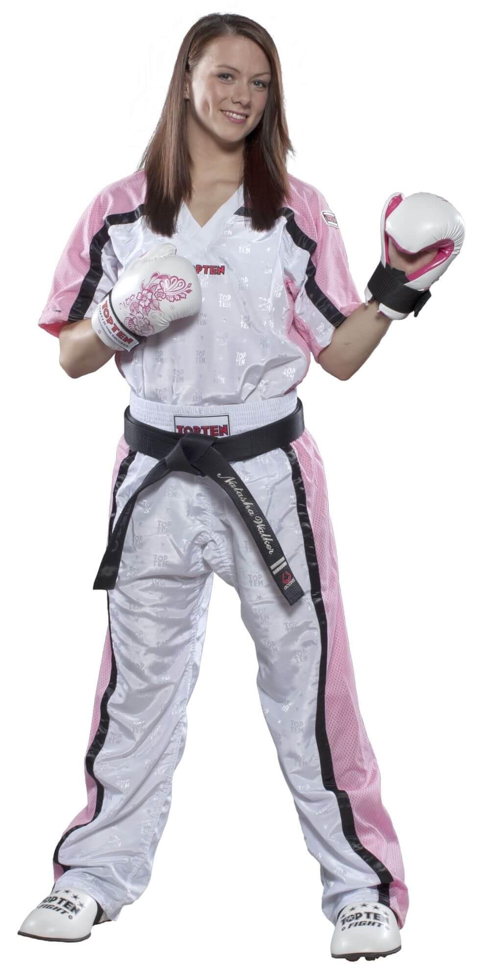 Kickboxhose Mesh Weiss-Pink komplett