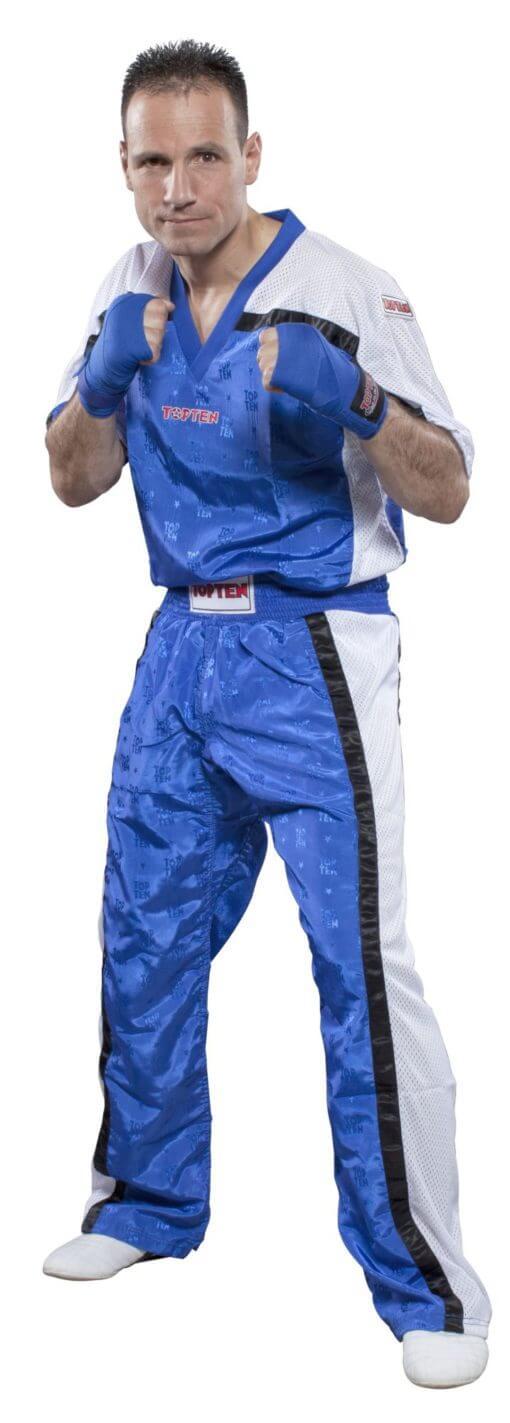Kickboxhose Mesh Blau-Weiss komplett