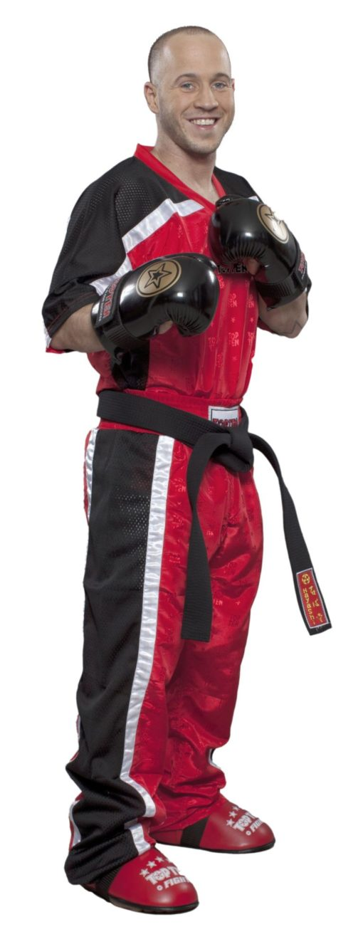 Kickboxhose Mesh Rot-Schwarz komplett