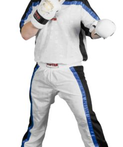 Kickboxhose Mesh Weiss-Schwarz komplett