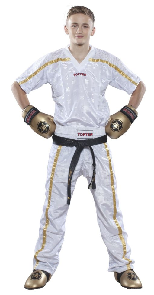 Kickboxhose Mesh Weiss-Gold komplett
