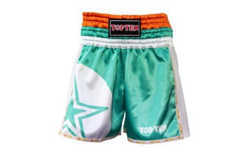 thai-kickboxing-shorts-topten-star-green-front